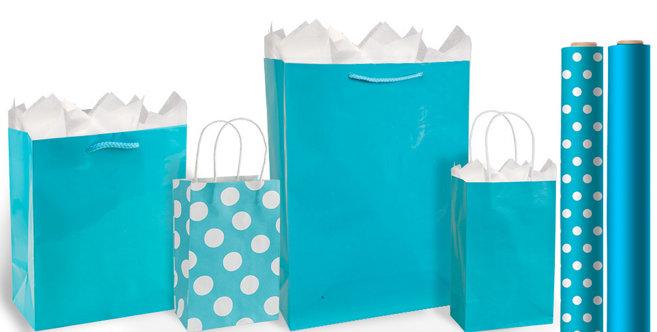 Caribbean Blue Favor Boxes : Caribbean blue gift bags wrap party city