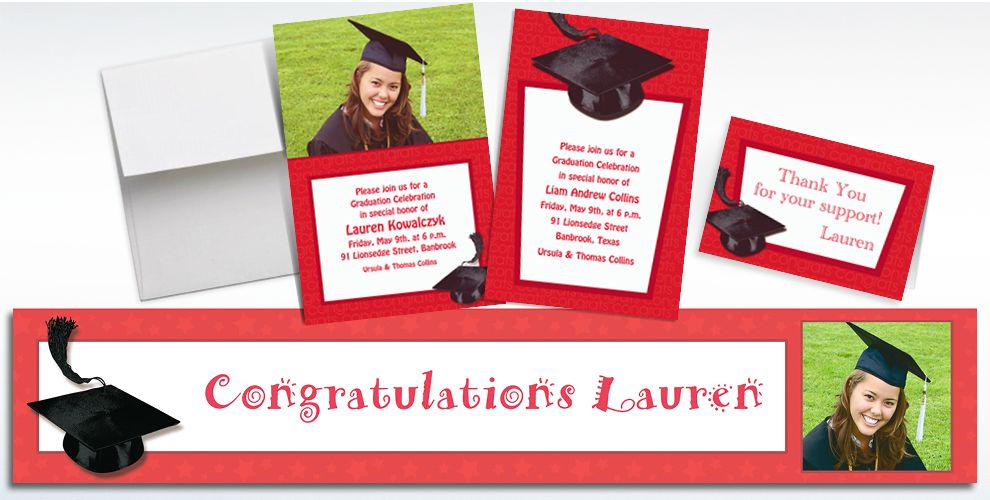 custom red graduation invitations & thank you notes - party city, Party invitations