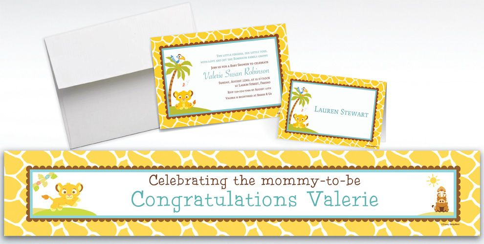 custom lion king baby shower invitations thank you notes party city - Party City Baby Shower Invites