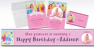 Custom Disney Princess 1st Birthday Invitations Thank You Notes