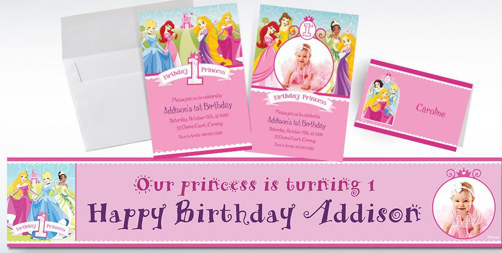 Custom Disney Princess 1st Birthday Invitations Thank You Notes – Personalized Disney Birthday Invitations