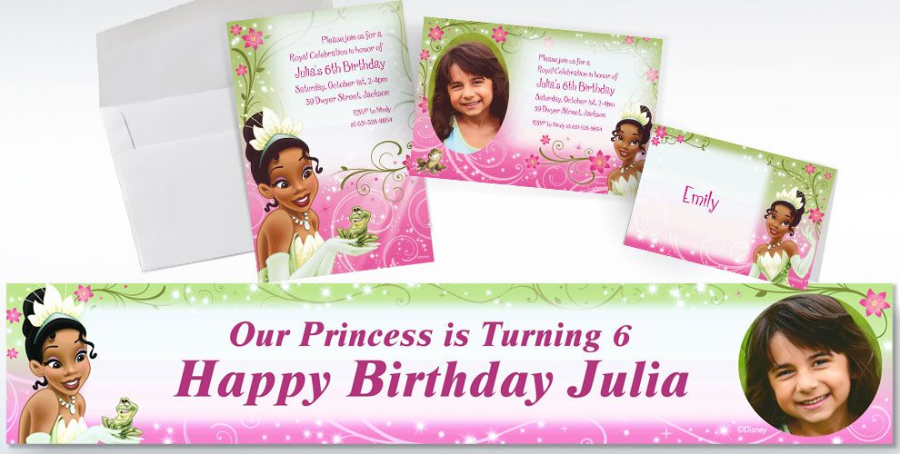 Custom Princess and the Frog Invitations Thank You Notes Party – Princess Tiana Party Invitations