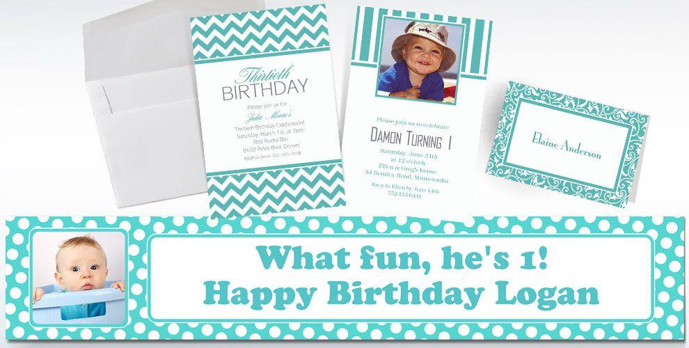 Custom Robin\'s Egg Blue Invitations & Thank You Notes - Party City