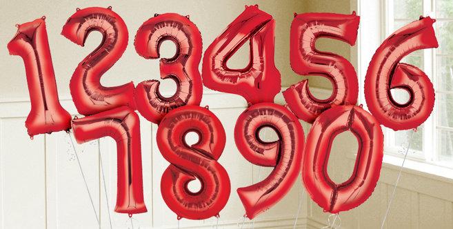 Red Number Balloons Metallic Red Balloons Amp Balloon
