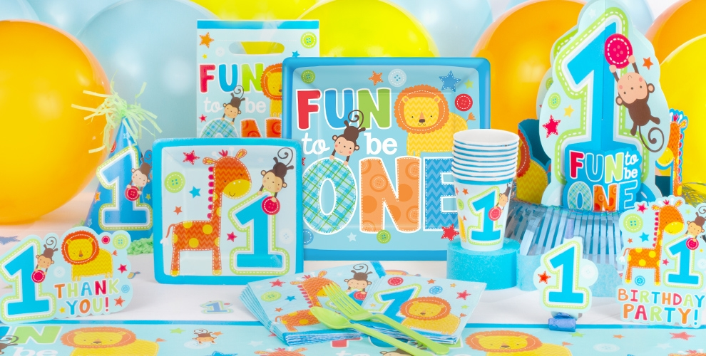 Wild at one boy 39 s 1st birthday party supplies party city for 1st birthday party decoration for boys