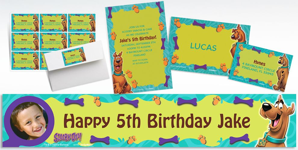 Custom Scooby Doo Invitations Thank You Notes Party City – Scooby Doo Party Invitations