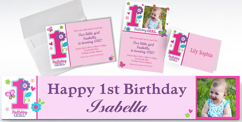 Custom Sweet Birthday Girl St Birthday Invitations Thank You - 1st birthday invitations girl purple