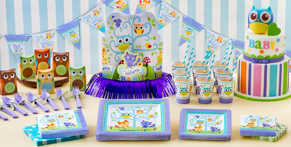 Welcome baby party supplies woodland party city for Baby welcome party decoration ideas