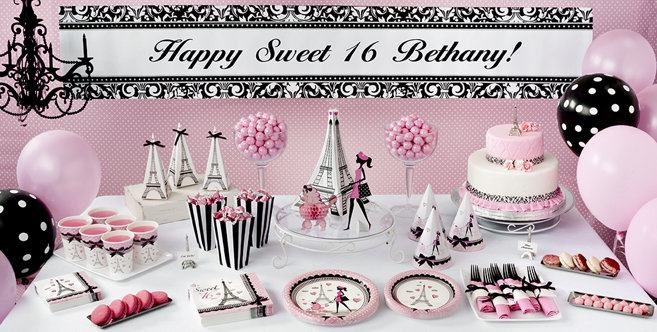 pink paris sweet 16 party supplies party city. Black Bedroom Furniture Sets. Home Design Ideas