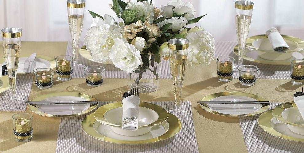 cream gold border premium tableware party city