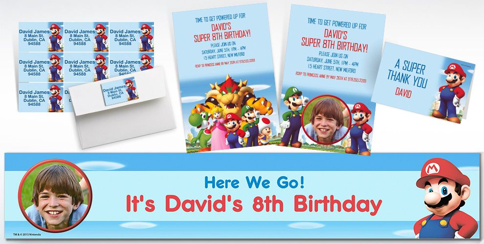 Custom Super Mario Invitations and Thank You Notes