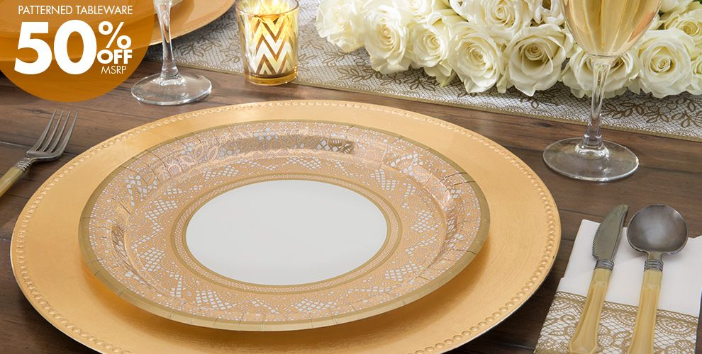 Delicate Gold Lace Party Supplies