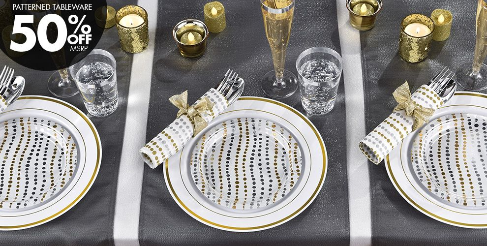 Metallic Silver and Gold Wavy Dots Party Supplies