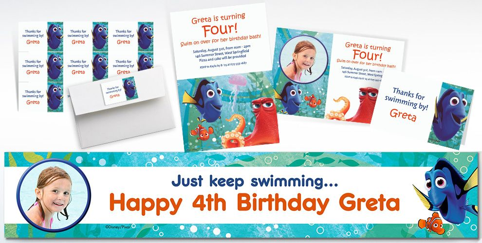 Custom Finding Dory Invitations Thank You Notes Party City – Personalized Birthday Thank You Cards