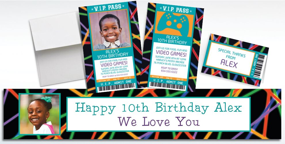 Custom Arcade Ticket Banners Invitations Thank You Notes – Arcade Party Invitations