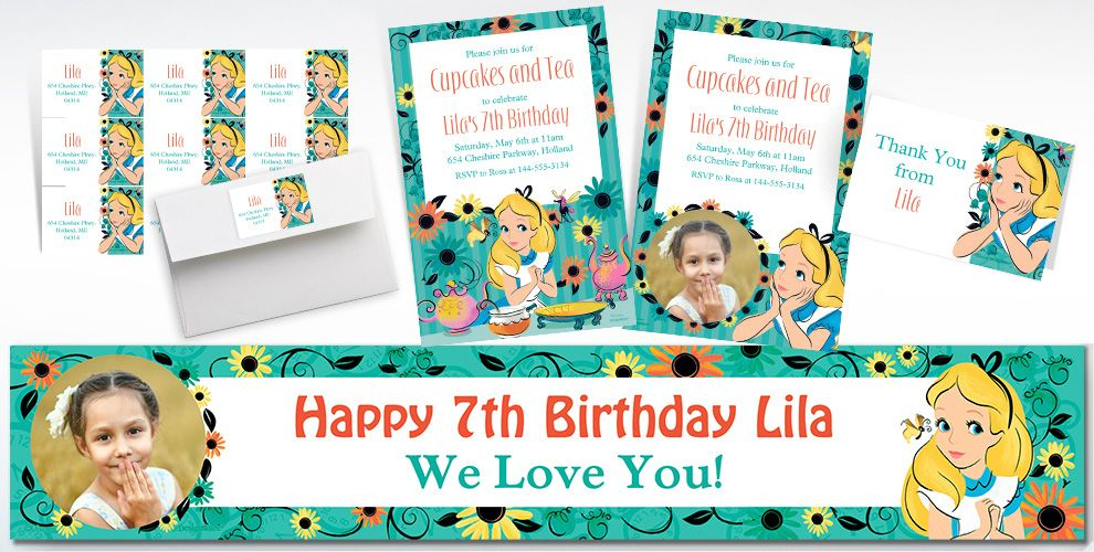 Custom Alice in Wonderland Invitations, Thank You Notes and Banners