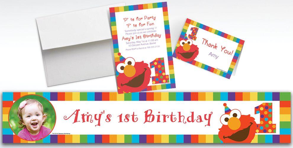 Custom Elmo 1st Birthday Banners Invitations Thank You Notes – Custom Elmo Birthday Invitations