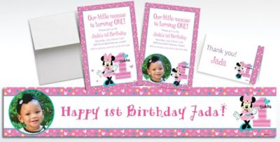Custom Minnie Mouse 1st Birthday Banners Invitations Thank You