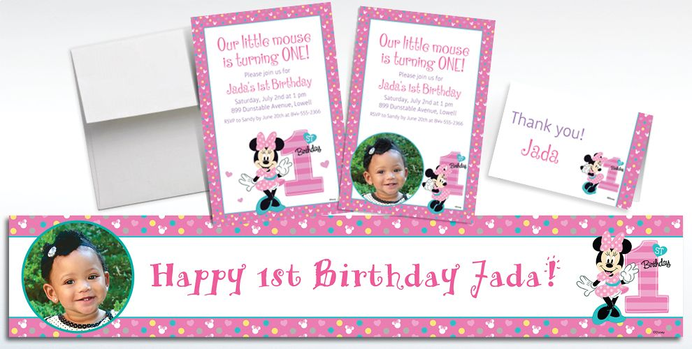 Custom Minnie Mouse 1st Birthday Banners, Invitations and Thank You Notes