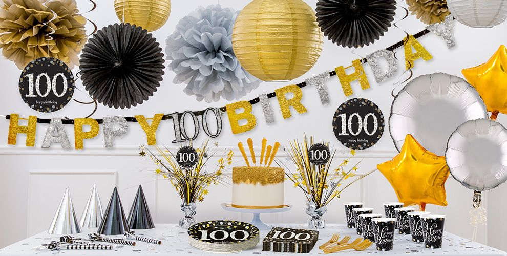Sparkling celebration 100th birthday party supplies for 100th birthday decoration ideas