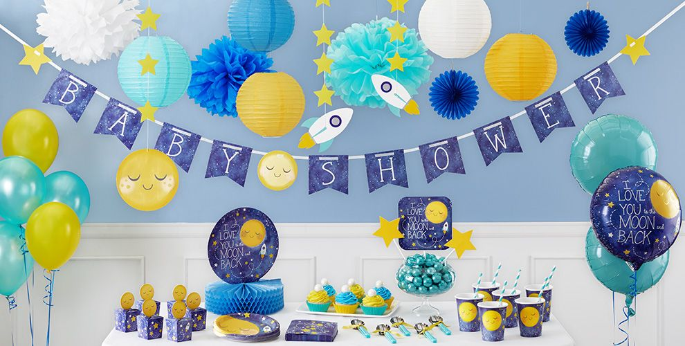 Moon stars decorations party city for Baby shower function decoration