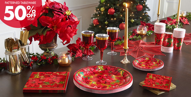 Holiday Poinsettia Party Supplies Christmas Tableware