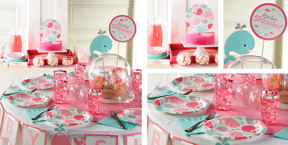 Pink Baby Whale Party Supplies