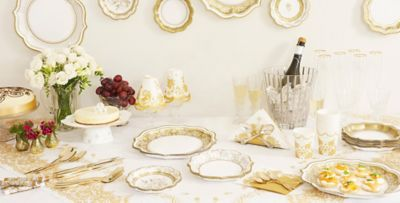 Porcelain Gold Party Supplies  sc 1 st  Party City : tableware for weddings - pezcame.com