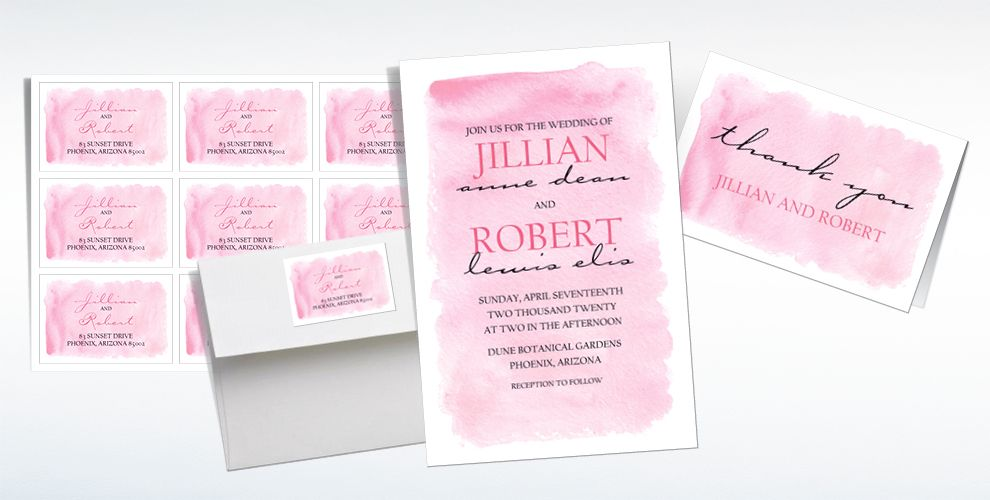 Custom Pink Watercolor Wedding Invitations, Thank You Notes & Banners