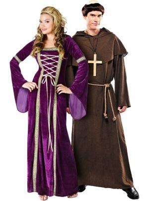 Renaissance Faire Lady and Medieval Monk Couples Costumes