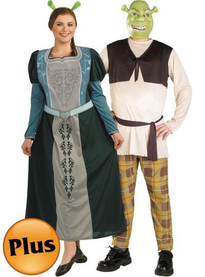 Plus Size Princess Fiona and Shrek Couples Costumes