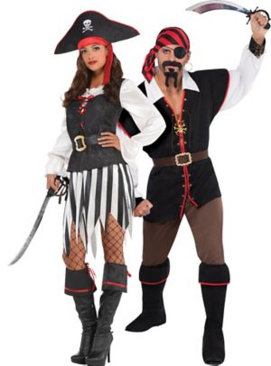 Adult High Sea Sweetheart Pirate & Rebel of the Sea Pirate Couples Costumes