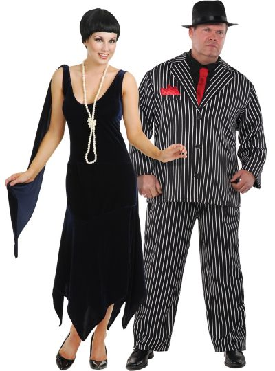 Plus Size Sandy Speak Easy and Mob Boss Couples Costumes