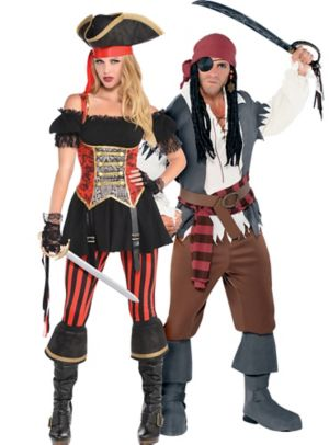 Adult Lassie Lady Pirate & Castaway Captain Pirate Couples Costumes