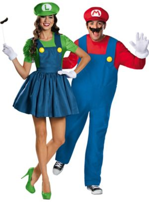 Adult Mario & Miss Luigi Couples Costumes