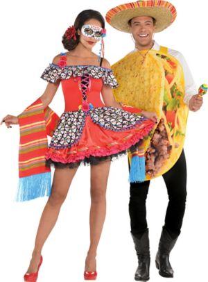 Adult Senorita Sugar Skull & Taco Couples Costumes