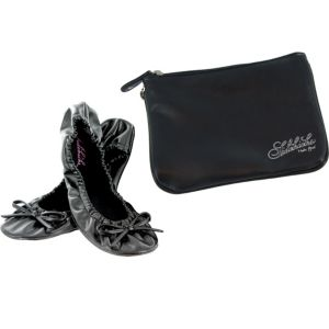 Sidekicks Matte Black Travel Ballet Flats