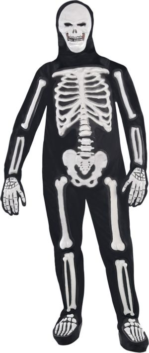 Adult Frightening Bones Skeleton Costume Plus Size