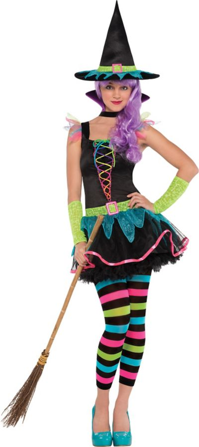 Teen Girls Neon Witch Costume