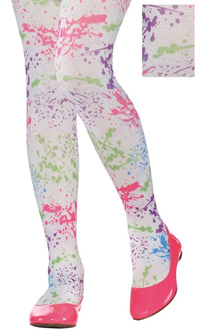 Child White Neon Splatter Tights
