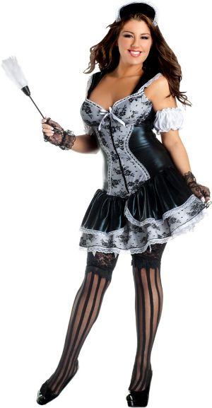 Adult French Maid Body Shaper Costume Plus Size