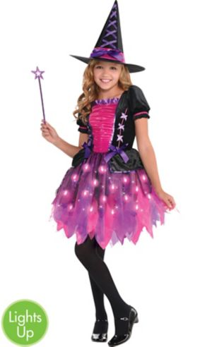Girls Light-Up Sparkle Witch Costume