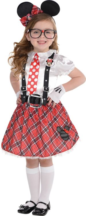 Little Girls Minnie Mouse Nerd Costume