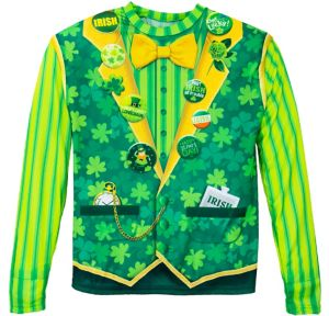 St. Patrick's Day Buttons Long-Sleeve Shirt