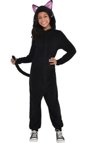 Girls Zipster Black Cat One Piece Costume