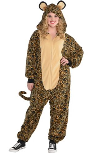 Adult Zipster Leopard One Piece Costume Plus Size