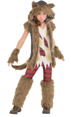 Girls Brown Werewolf Costume