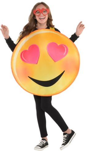 Girls Heart Eyes Smiley Costume