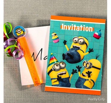 Despicable Me Invite with Favor Idea