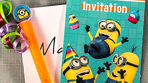 Despicable Me Invite with Favor Idea